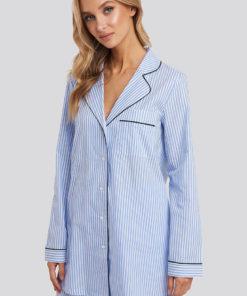 Camasa de pijama cu imprimeu cu dungi si buzunar pe piept 2702472