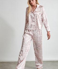 Pijama din satin cu animal print 2991698