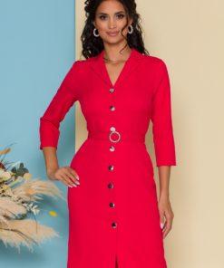 Rochie Sabrina rosu zmeura tip sacou cu buzunare decorative